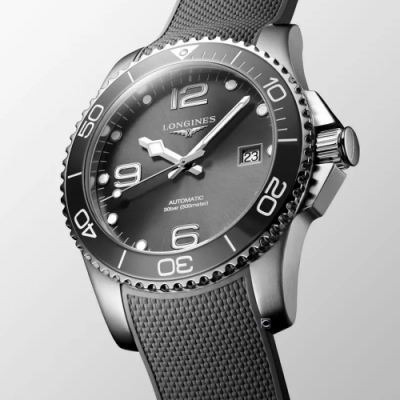 LONGINES浪琴 深海征服者陶瓷框潛水機械錶 L37824769-灰/43mm