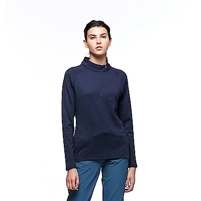 【HAKERS 哈克士】女 保暖立領半開襟排汗衣(深藍色)