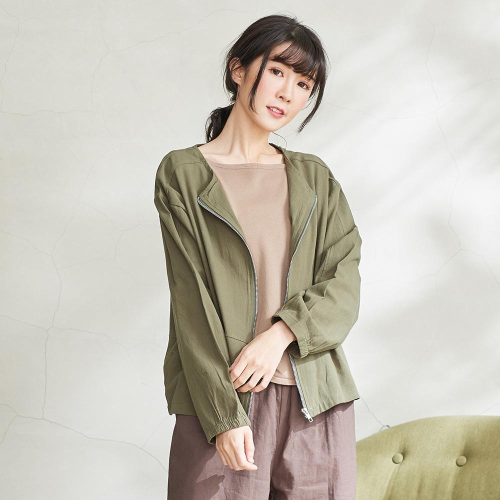 慢 生活純色短薄款拉鍊外套 卡其/綠色