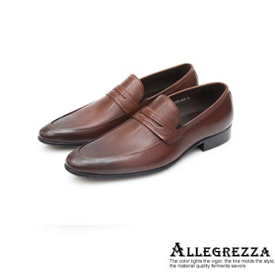 ALLEGREZZA真皮男鞋-優雅設計-牛皮樂福鞋   咖啡色