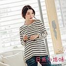 日系小媽咪孕婦裝-韓製孕婦裝~簡單質感雙色條紋上衣 (共二色)