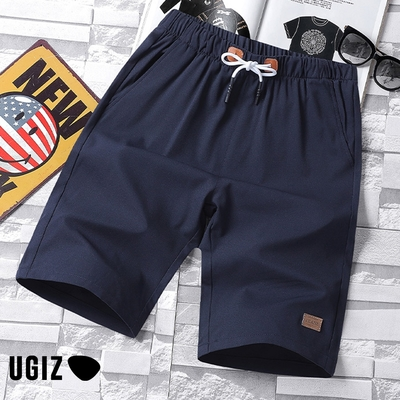 UGIZ男裝-時尚潮流百搭簡約撞色鬆緊繫繩造型五分褲-2色(M-2XL)