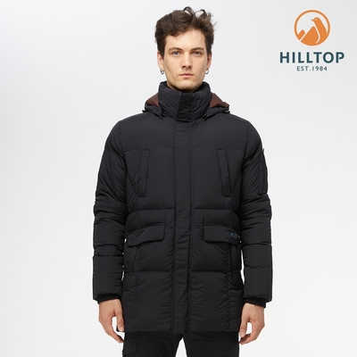 【hilltop山頂鳥】男款超潑水蓄熱羽絨長大衣F21M59黑美人