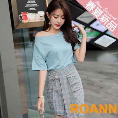 一字領T恤+格紋短裙兩件套 (灰藍色)-ROANN