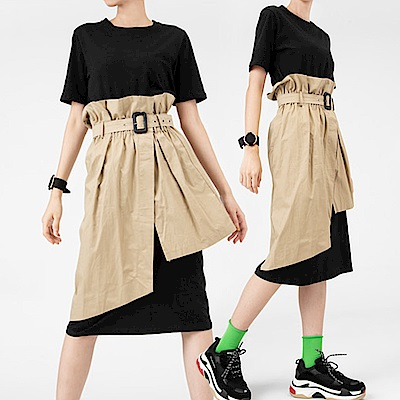 英倫風MIX兩件式層次洋裝-(白色)Andstyle