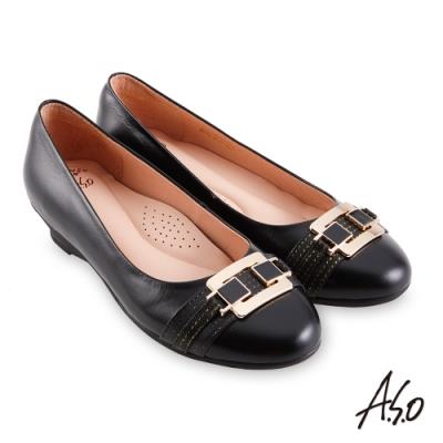 A.S.O 職場通勤 健步通勤內斂典雅娃娃鞋-黑