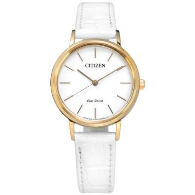 CITIZEN 光動能 簡約優雅 礦石強化玻璃 日本機芯 牛皮手錶-白x香檳金框/30mm