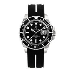 Valentino Coupeau 范倫鐵諾 古柏 陶瓷水鬼腕錶【銀色/黑面/橡膠】