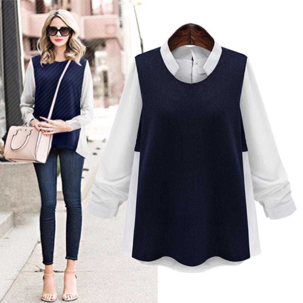 MOCO假兩件白色襯衫拼接藍色背後傘擺上衣XL~5L