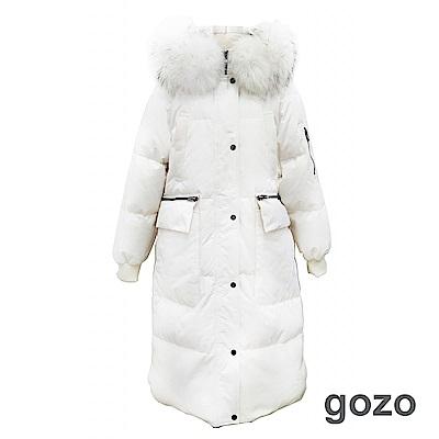gozo 90%鴨絨 品牌LOGO過膝長版羽絨外套(二色)