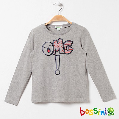 bossini女童-印花長袖T恤03淺灰