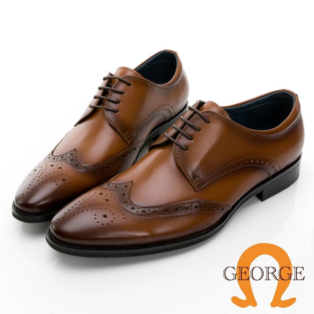 GEORGE 喬治皮鞋經典系列 真皮翼紋雕花德比鞋 -棕 115009CZ