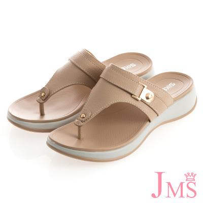 JMS-自在夏氛皮革繫帶Q軟夾腳涼拖鞋-杏色