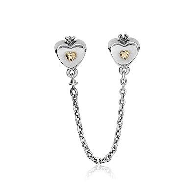 Pandora 潘朵拉 愛心皇冠14k金 安全錘鍊安全扣 純銀墜飾