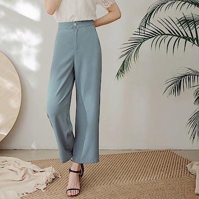 純色不易皺撞色釦設計涼感寬褲-OB嚴選