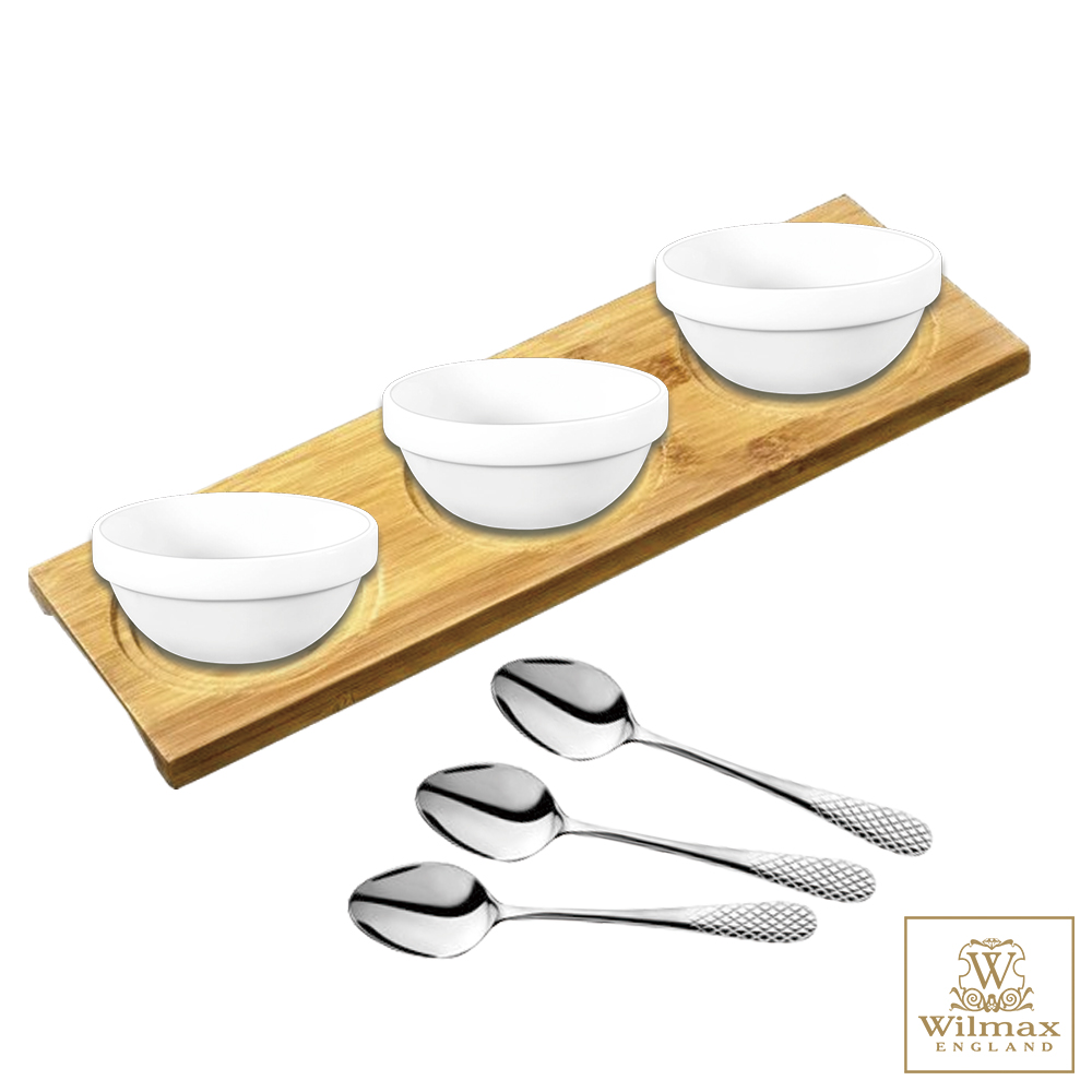 英國 WILMAX 多用途竹製杯墊/置物盤/點心盤附醬料碟茶匙組