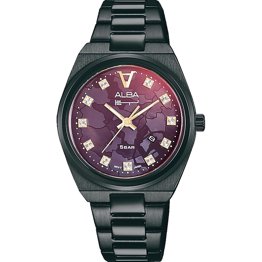 ALBA雅柏 限量黑子拼色鋼帶女錶(AH7Y41X1/VJ22-X348SD)32mm