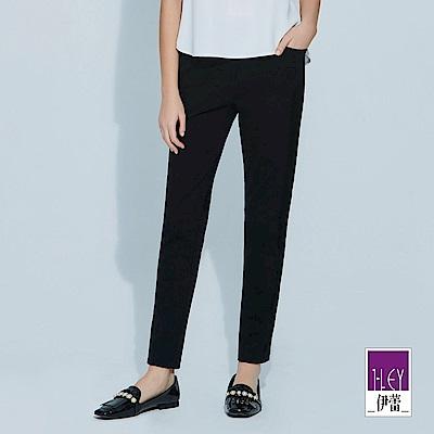 ILEY伊蕾 時尚拼接網布造型彈力窄管褲(黑)