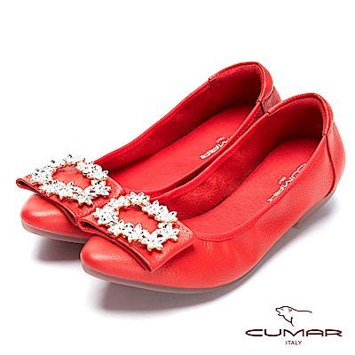 CUMAR璀璨閃耀-減齡花卉鑽飾皮釦尖頭平底包鞋