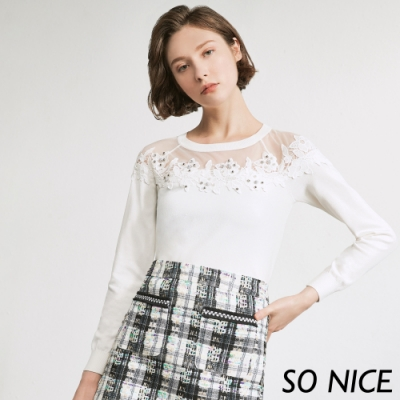 SO NICE浪漫銀珠蕾絲針織上衣
