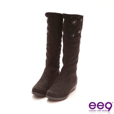ee9 經典手工2WAY百搭素面厚底高、中筒靴 黑色-1078871 10