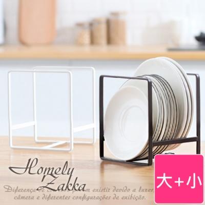 【Homely Zakka】日式簡約工藝鐵製盤架/整理置物架/瀝水收納層架_2入(大+小)