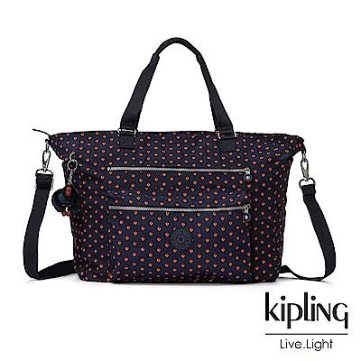 Kipling 紅黃幾何圖騰雙拉鍊手提側背包-ISAAC