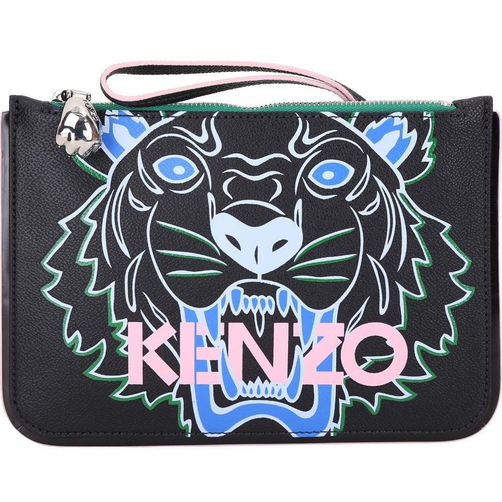 KENZO Tiger 虎頭圖騰經典印花手腕包/化妝包(黑色)