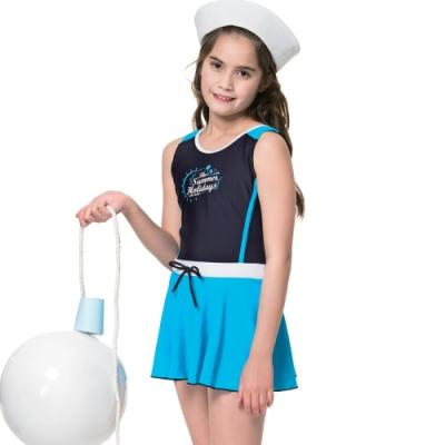 沙兒斯 兒童泳裝 水藍連身裙中童泳裝