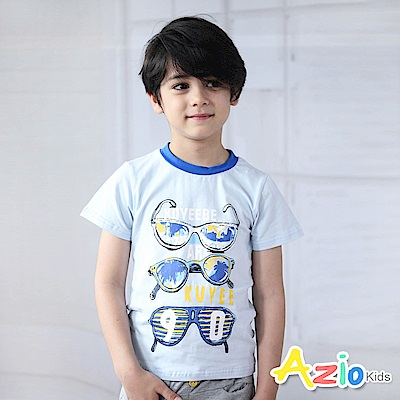 Azio Kids  上衣 眼鏡數字90印花短袖T恤(藍)