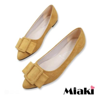 Miaki-娃娃鞋絨面小香風平底鞋-黃