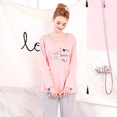 睡衣 好眠小貓 針織棉長袖兩件式睡衣(R77208-2粉色) 蕾妮塔塔