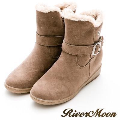 River&Moon韓版Q毛飾扣磨沙皮內增高短靴-卡其