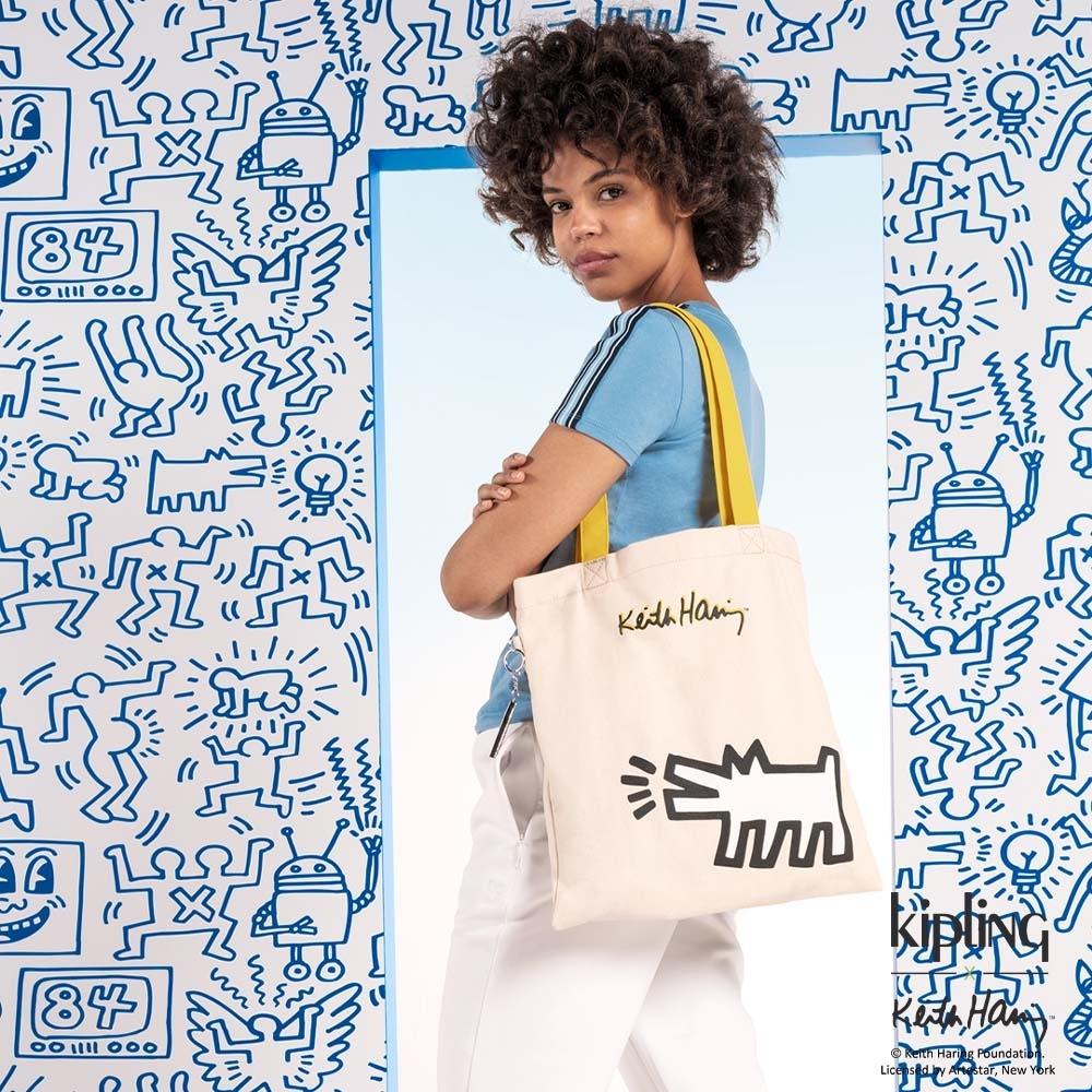 Kipling x Keith Haring 限量聯名系列造型塗鴉大方簡約肩背包-MY KH TOTE