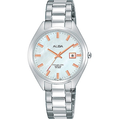 ALBA雅柏 城市情人時尚女錶(AH7R15X1)-珍珠貝x銀/32mm