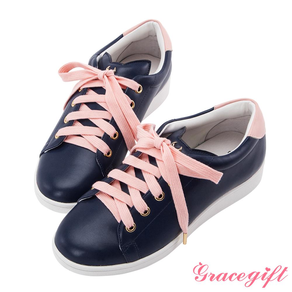 Grace gift-美少女戰士立體貓耳飾釦休閒鞋 深藍