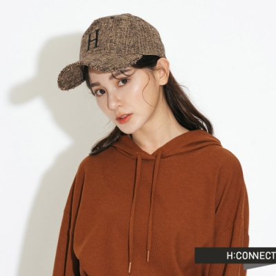 H:CONNECT 韓國品牌 配件 - 復古毛呢繡字棒球帽 -棕