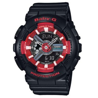 CASIO 卡西歐 Baby-G 小甜心多層次腕錶-黑x42mm(BA-110SN-1A)