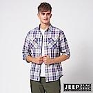 JEEP 法蘭絨格紋雙口袋長袖襯衫-海洋藍