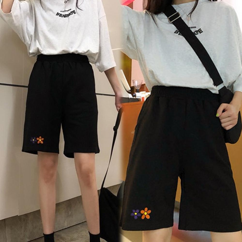 【韓國K.W.】休閒時尚運動印花短褲