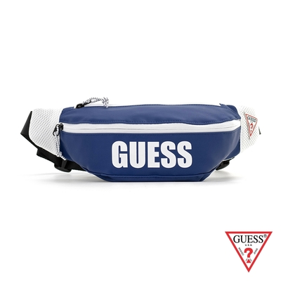 GUESS-男包-素面簡約LOGO腰包-藍 原價1490