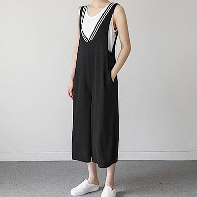 Hera 赫拉 韓版V領寬鬆連身闊腿褲-2色