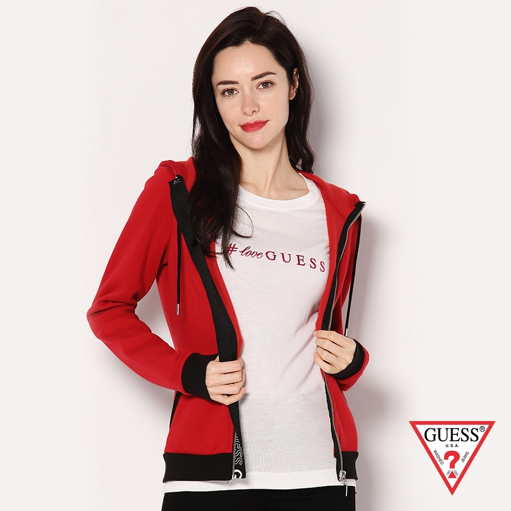 GUESS-女裝-素面LOGO連帽外套-紅 原價3490