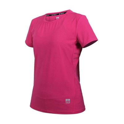 FIRESTAR 女彈性機能圓領短袖T恤-運動 慢跑 路跑 上衣 涼感 反光 DL161-47 桃紅