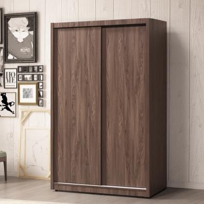 直人木業-ALEX簡約胡桃木120公分滑門衣櫃