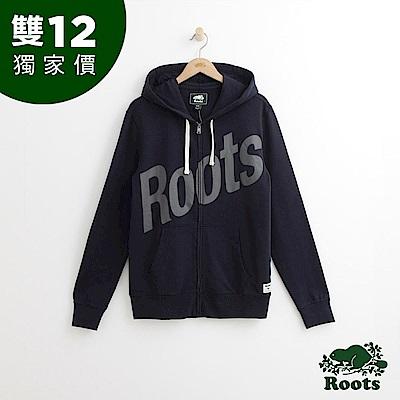 Roots 男裝-ROOTS 前胸斜體連帽外套-藍