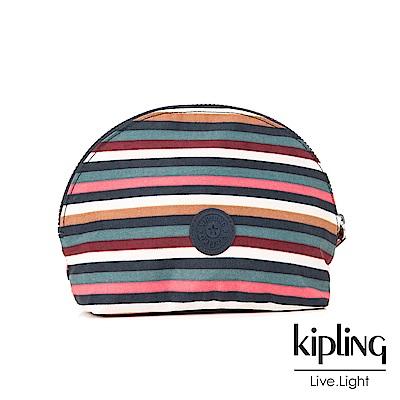 Kipling 化妝包 彩色拼接條紋-小