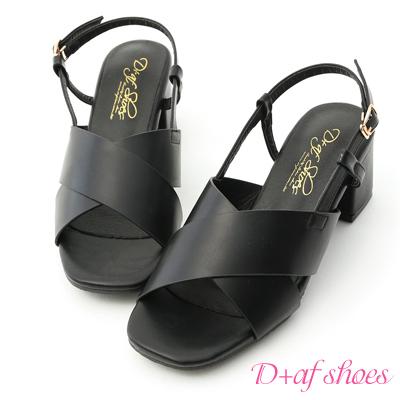 D+AF 自信時尚.寬版交叉方頭中跟涼鞋*黑