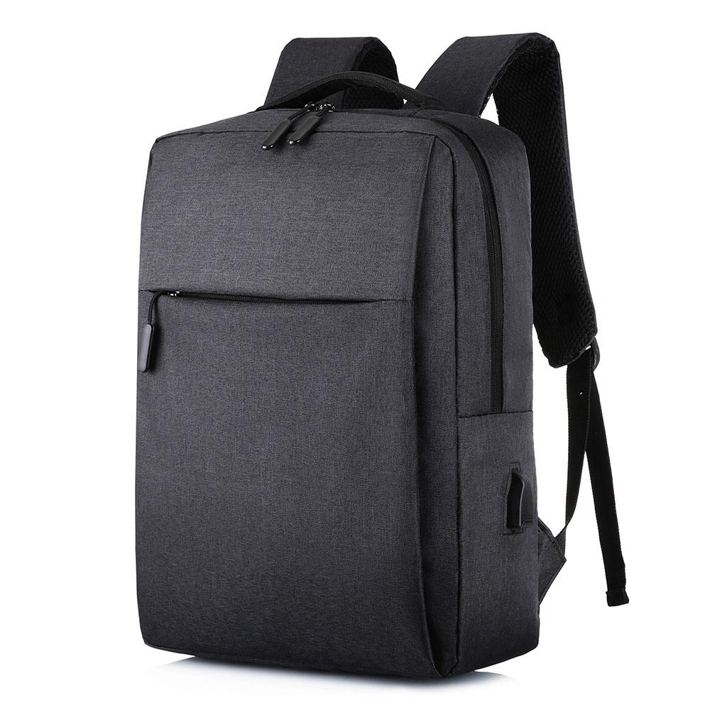 【KISSDIAMOND】耐刮減震USB充電雙肩背包(後背/筆電/商務/旅行/出差/黑色)