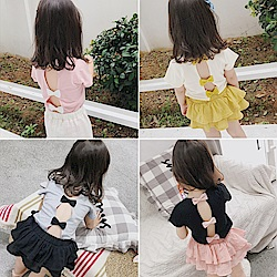 小衣衫童裝    甜美可愛蝴蝶結露背短袖T恤1070529